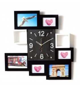 Nowoczesny zegar ścienny ramki  na zdjęcia czarny 6 razem