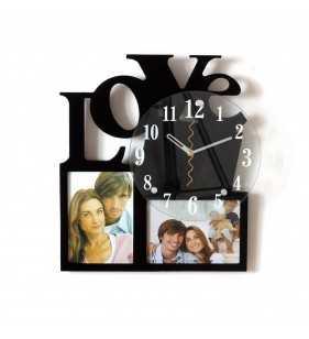 Nowoczesny zegar ścienny ramki  na zdjęcia LOVE czarny