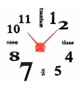 Duży zegar ścienny 3D DIY lustro 70cm-130cm 12S015 czarno czerwony