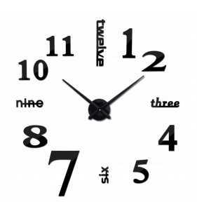 Duży zegar ścienny 3D DIY lustro 70cm-130cm 12S015 czarny