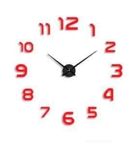 Duży zegar ścienny 3D DIY lustro 70cm-130cm 12S002 srebrny