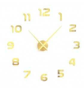 Duży zegar ścienny 3D DIY lustro 70cm-130cm 12S002 złoty