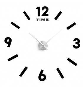 Duży zegar ścienny 3D DIY lustro 70cm-130cm 1817 CZARNO SREBRNY
