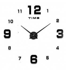 Duży zegar ścienny 3D DIY lustro 70cm-130cm 12S005 czarny