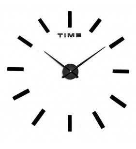 Duży zegar ścienny 3D DIY lustro 70cm-130cm 12S030 CZARNO SREBRNY