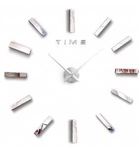 Duży zegar ścienny 3D DIY lustro 70cm-130cm 12S030 SREBRNY
