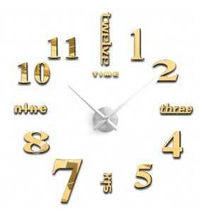 Duży zegar ścienny 3d diy lustro 70cm-130cm 12S015 srebrno-złoty
