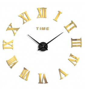 Duży zegar ścienny 3D DIY lustro 70cm-130cm 12S019 ZŁOTY