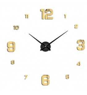 Duży zegar ścienny 3D DIY lustro 70cm-130cm 12S005 CZARNO ZŁOTY
