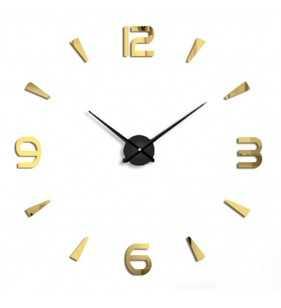 Duży zegar ścienny 3D DIY lustro 70cm-130cm T4218 srebrno czarno złoty