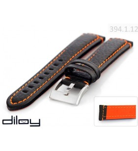 20 Mm Gruby Skórzany pasek do zegarka Diloy 394.1.12 pasek z pomarańczowym przeszyciem
