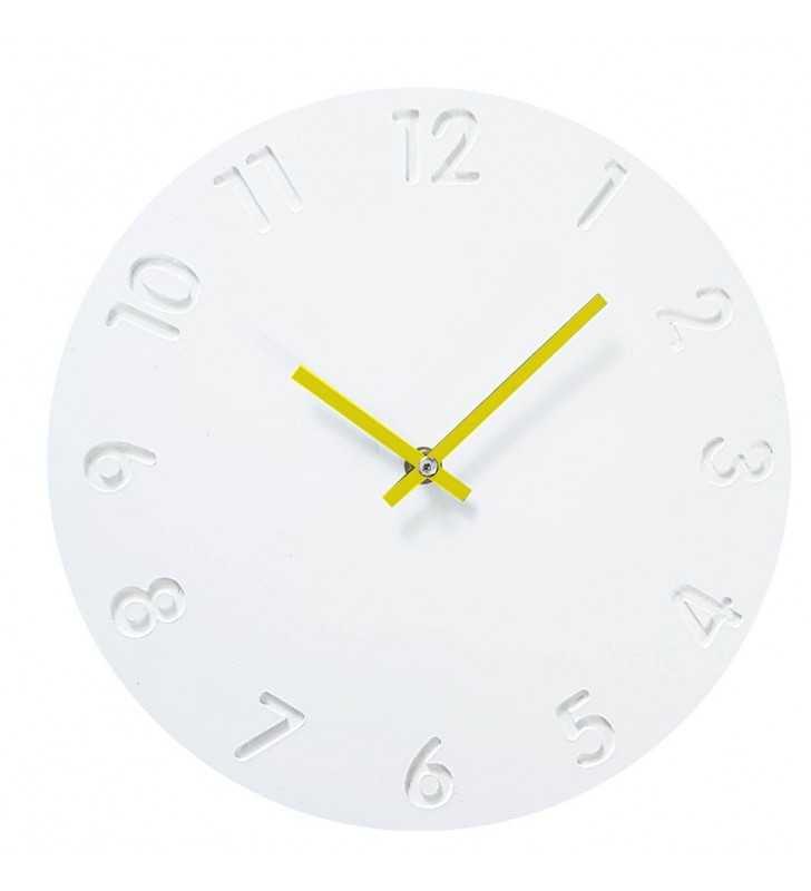 Skandynawski zegar ścieny biało-żółty