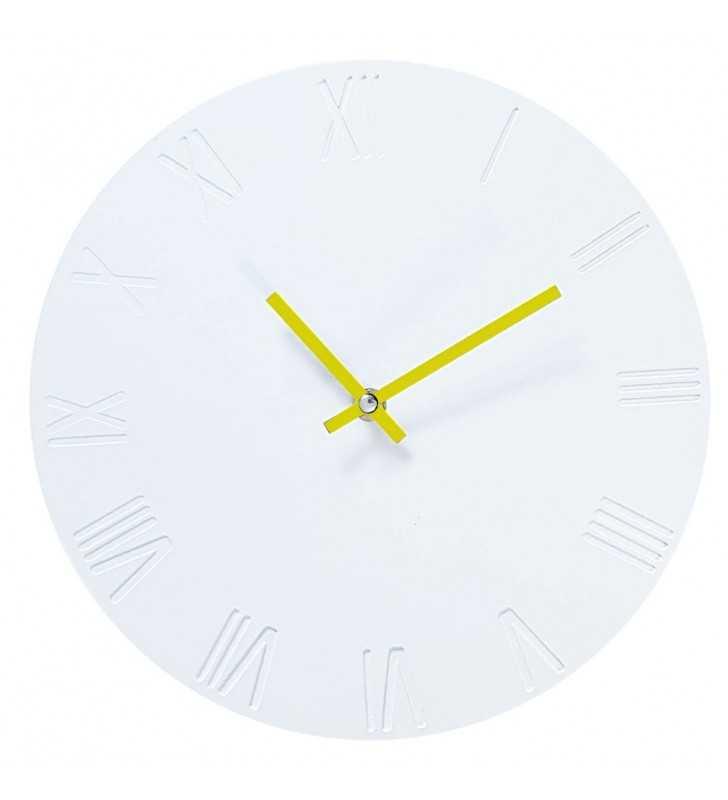 Zegar ścienny biało-żółty skandynawski Rzymski