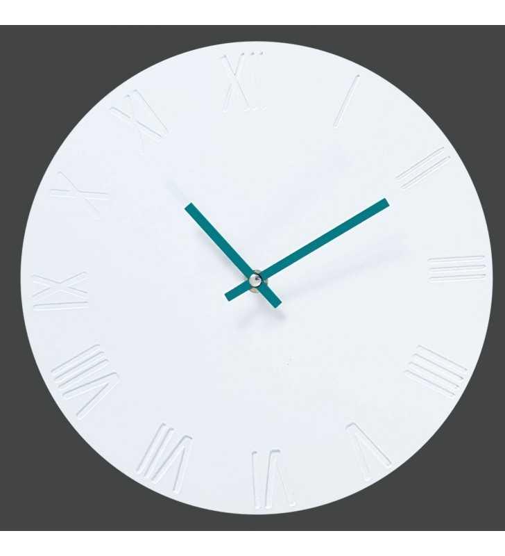 zegar ścienny biało-turkusowy Skandynawski  Rzymski