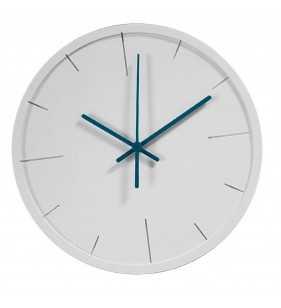 Zegar ścienny minimal biały - turkusowy- nowoczesny zegar - biały zegar