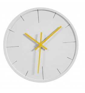 Zegar ścienny do salonu minimal biały - żółty