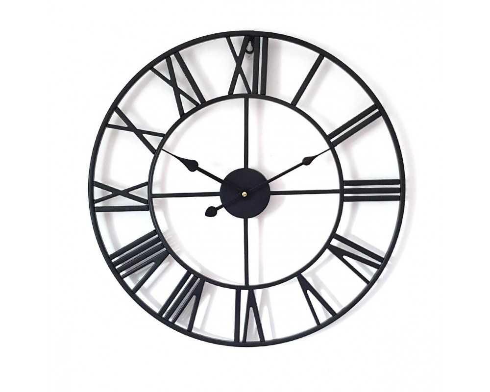 Zegar ścienny metalowy VINTAGE Shabby LOFT czarny 50 cm - dekoracyjny zegar wiszący - wyposażenie wnętrz
