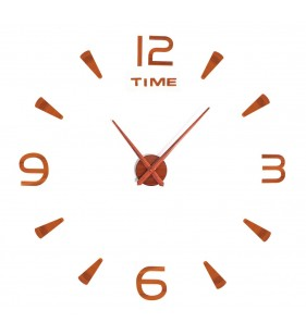 Duży zegar ścienny 3D DIY lustro 70cm-130cm T4218 Brązowy