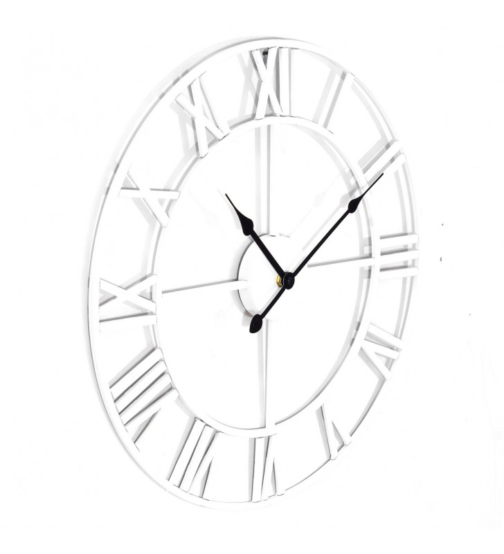 Duży zegar ścienny Loft biały metalowy 58 cm