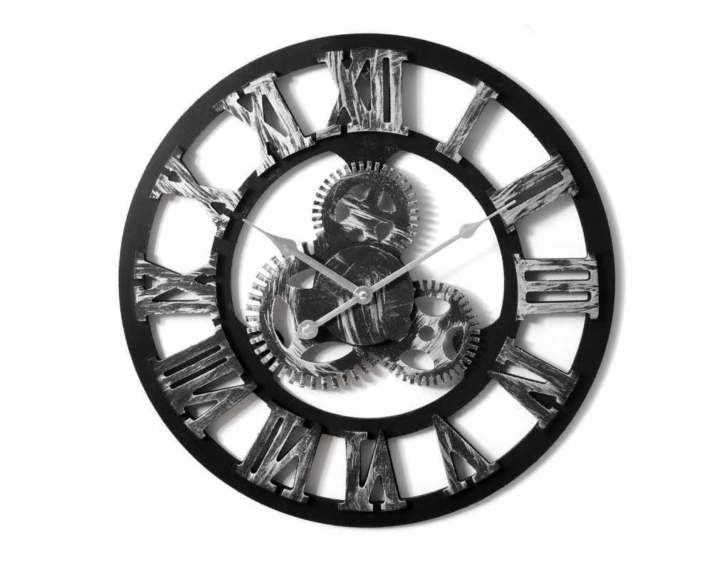Nowoczesny zegar ścienny VINTAGE SHABBY LOFT 45 cm srebrny - dekoracyjny zegar wiszący - wyposażenie wnętrz