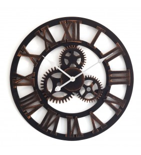 Nowoczesny zegar ścienny VINTAGE SHABBY LOFT 60 cm brązowo czarny