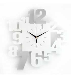 Nowoczesny zegar ścienny 3D V099 szaro biały