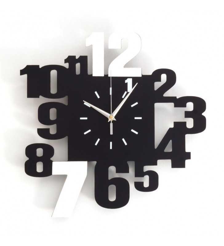 Nowoczesny zegar ścienny 3D V099 czarno biały