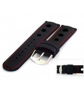 Pasek do zegarka kauczukowy HORIDO 008.01R czarny z czerwonym przeszyciem